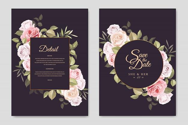 Cartão de convite de casamento lindo com floral e deixa o modelo