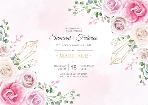 Cartão de convite de casamento lindo com flores em aquarela