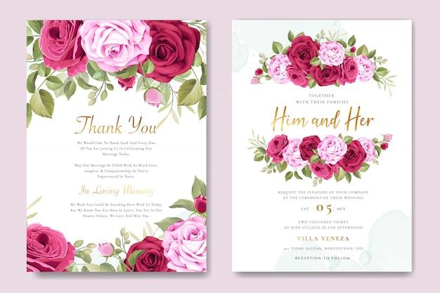 Cartão de convite de casamento lindo com grinalda floral e folhas