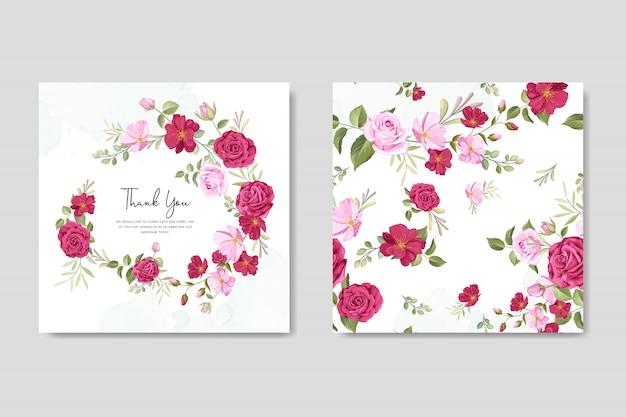 Cartão de convite de casamento lindo com modelo de moldura floral