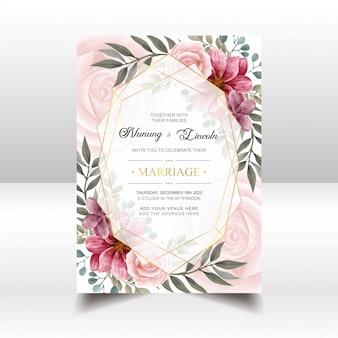 Cartão de convite de casamento lindo com moldura floral e dourado aquarela vintage