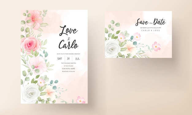 Cartão de convite de casamento lindo design floral