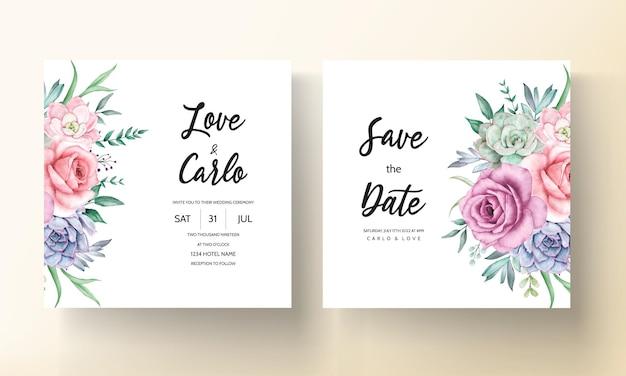 Cartão de convite de casamento lindo guirlanda floral em aquarela