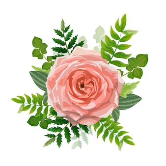 Cartão de convite de casamento. Lindo modelo. Cartão com flor rosa, vegetação da floresta