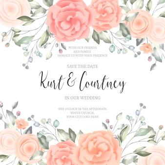 Cartão de convite de casamento lindo