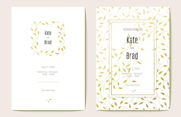 Cartão de convite de casamento luxuoso. ouro e branco. ilustração vetorial.