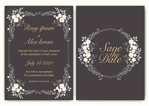 Cartão de convite de casamento mão floral desenhada
