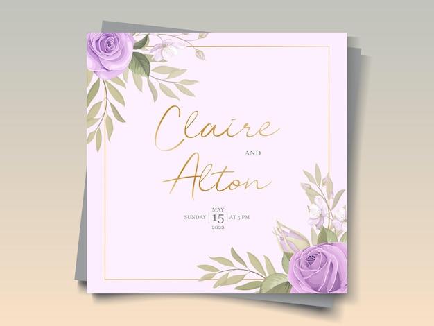 Cartão de convite de casamento minimalista com desenho de flores em cores suaves
