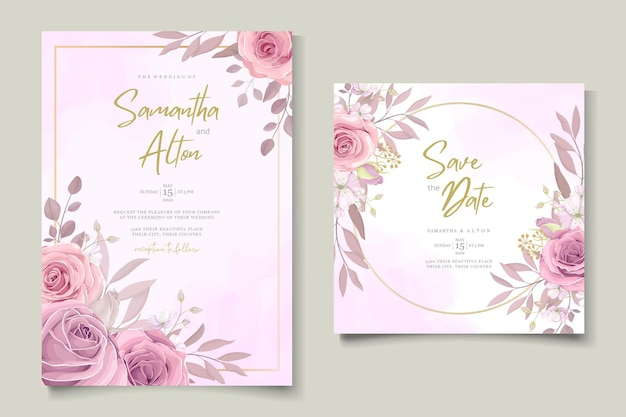 Cartão de convite de casamento minimalista com design de flor rosa