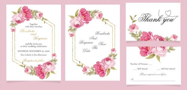 Cartão de convite de casamento moderno com cartão de agradecimento e rsvp