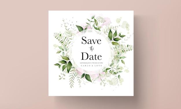 Cartão de convite de casamento moderno com folhas em aquarela