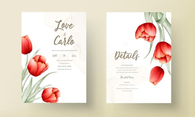Cartão de convite de casamento moderno com linda flor tulipa vermelha