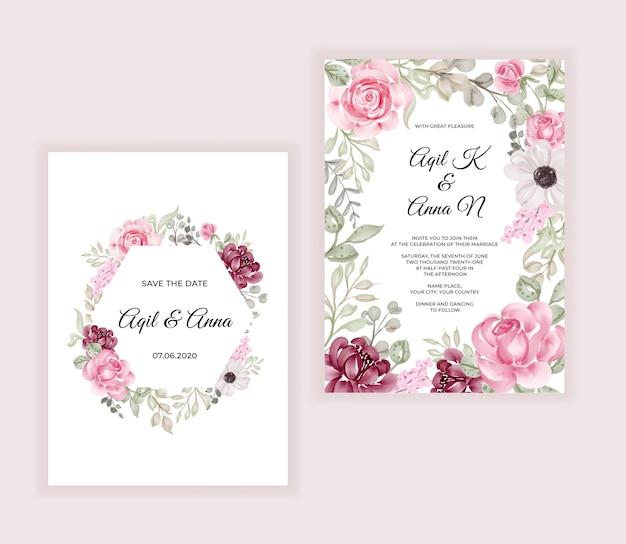 Cartão de convite de casamento moderno com linda moldura de flores