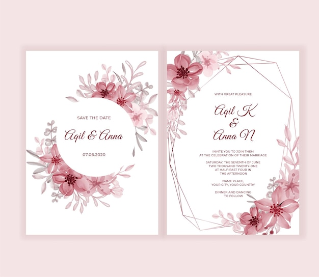 Cartão de convite de casamento moderno com lindas flores cor de rosa