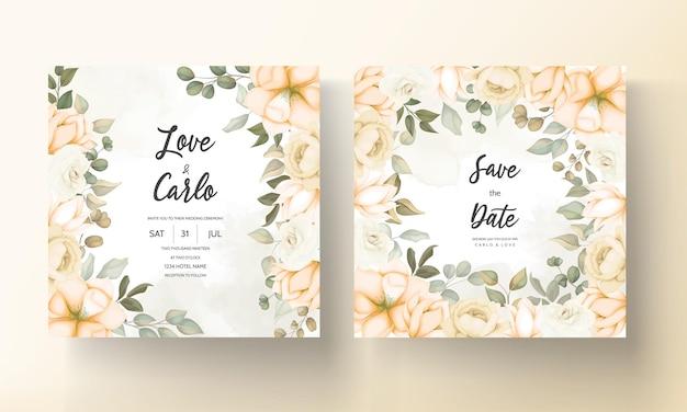 Cartão de convite de casamento moderno com lindas flores