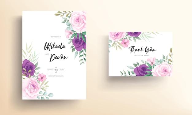 Cartão de convite de casamento moderno com lindo ornamento floral
