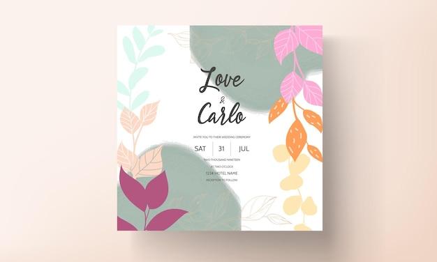 Cartão de convite de casamento moderno com ornamentos