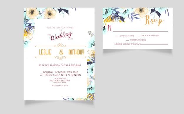 Cartão de convite de casamento moderno e cartão rsvp