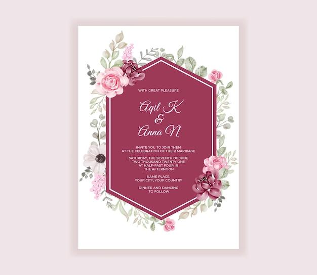 Cartão de convite de casamento moderno vermelho com lindas flores