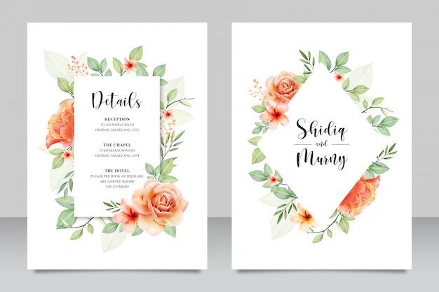 Cartão de convite de casamento muito floral