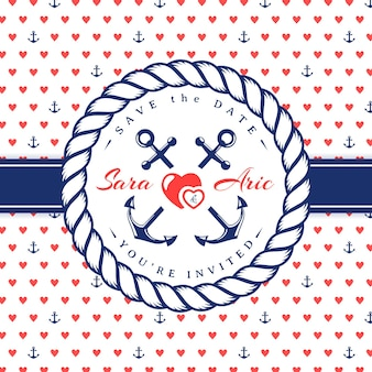 Cartão de convite de casamento no mar