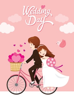 Cartão de convite de casamento, noiva, noivo andando de bicicleta