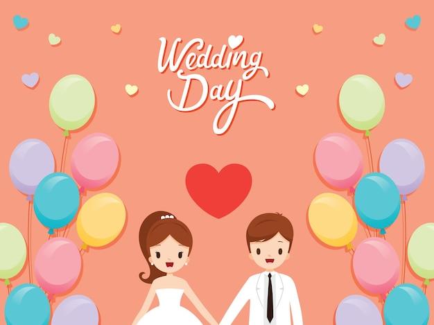 Cartão de convite de casamento, noiva, noivo e balões