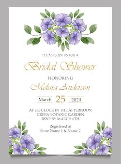 Cartão de convite de casamento nupcial e casamento
