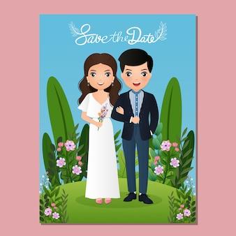 Cartão de convite de casamento o personagem de desenho animado casal fofo de noiva e noivo. ilustração colorida para celebração do evento