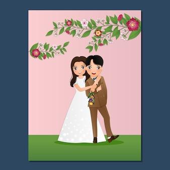Cartão de convite de casamento o personagem de desenho animado casal fofo de noiva e noivo.
