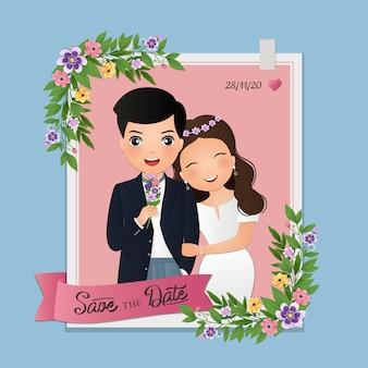 Cartão de convite de casamento o personagem de desenho animado casal fofo de noiva e noivo