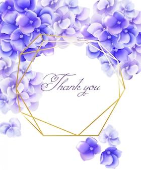 Cartão de convite de casamento obrigado com aquarela flores violetas vibrantes
