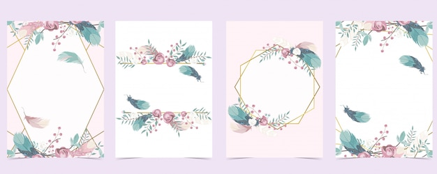Cartão de convite de casamento ouro rosa geometria com rosa, folha, coroa de flores, penas e moldura