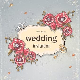 Cartão de convite de casamento para seu texto em um fundo cinza com papoulas, anéis de casamento e pombas