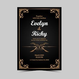 Cartão de convite de casamento preto e dourado