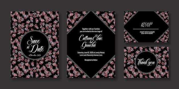 Cartão de convite de casamento preto e rosa