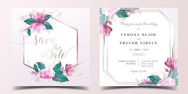 Cartão de convite de casamento quadrado