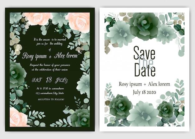 Cartão de convite de casamento quadro de mão floral desenhado