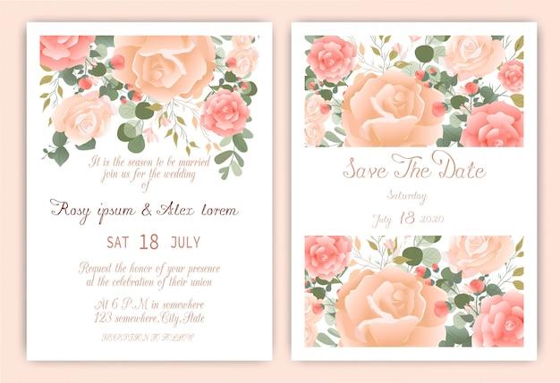 Cartão de convite de casamento quadro desenhado de mão floral.