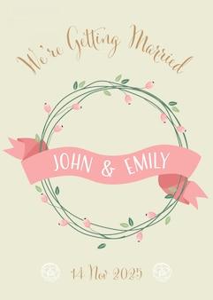 Cartão de convite de casamento retrô doce