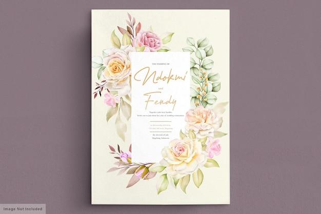 Cartão de convite de casamento romântico em aquarela de rosas brancas