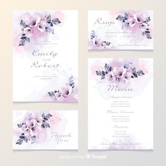 Cartão de convite de casamento romântico