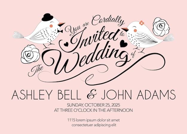Cartão de convite de casamento rosa com pássaro em vetor