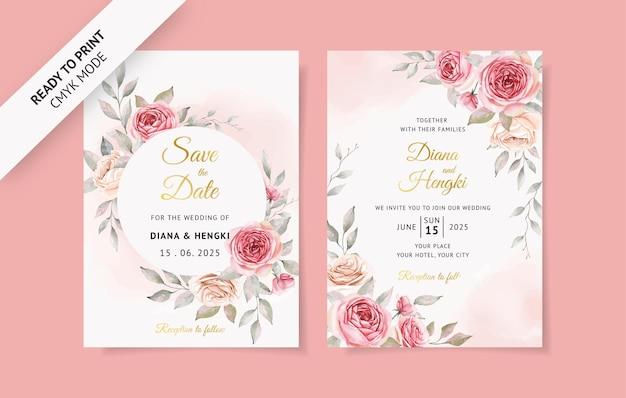 Cartão de convite de casamento rosa suave