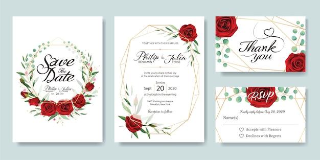 Cartão de convite de casamento rosa vermelha.
