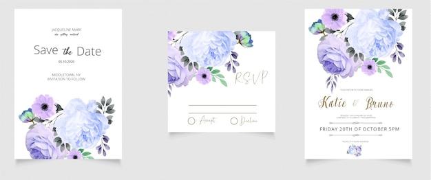 Cartão de convite de casamento rsvp e salvar o estilo de aquarela de data