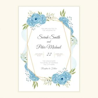 Cartão de convite de casamento rústico com moldura aquarela flor azul