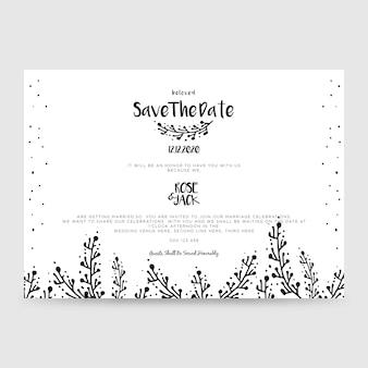 Cartão de convite de casamento, salvar a data