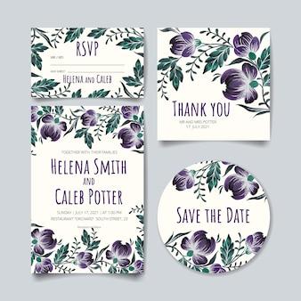 Cartão de convite de casamento, salvar o cartão de data, cartão de rsvp, cartão de agradecimento com flores, folhas e ramos.