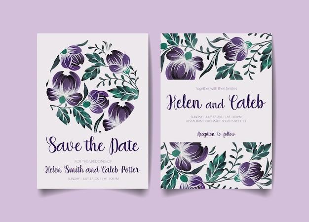 Cartão de convite de casamento, salve a data com flores, folhas e galhos.